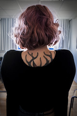 J52 (charlotte.boullier) Tags: black love colors girl strange vintage hair fun photography weird friend purple body retro tatoo curlyhair pinup challenge purplehair tatouage biche 365days 365project 365challenge projet365