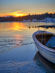 Ryksund, Norway (Vest der ute) Tags: winter sea ice water sunrise reflections landscape boat g7x