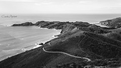 Light House (camilaimbire) Tags: sanfrancisco road blackandwhite lighthouse water hills