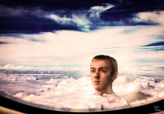 Head in the Clouds (HunterBliss) Tags: sky sun window beautiful face weather birds clouds photoshop plane head manipulation hunter bliss airy