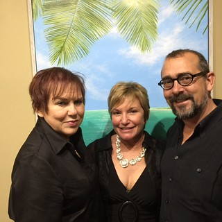 Gallery director Lilia Garcia with artist Lynn Fecteau and husband Richard at Lynn's opening at the festival gallery in the Grove.