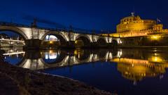 Castel Sant'Angelo reflection (savolio70) Tags: bridge blue rome roma reflection castle night river fiume ponte tiber tevere bluehour castello notte castelsantangelo riflesso thebluehour bluehours savolio stefanoavolio