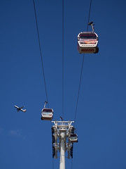 different approaches (Cosimo Matteini) Tags: london pen plane airplane transport olympus cablecar northgreenwich m43 mft ep5 cosimomatteini differentapproaches mzuiko45mmf18