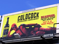 "Words to live by "" PUT IT IN YOUR MOUTH"" ""DEADPOOL"" (kennethkonica) Tags: blue red usa color yellow america canon midwest random outdoor indianapolis culture indy indiana whiskey billboard global hoosiers canonpowershot marioncounty deadpool coldcockwhiskey"