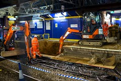 Preparing for Crossrail at Hayes & Harlington Station (1) (LFaurePhotos) Tags: life london station night construction platform railway menatwork trainstation hayes diggers firstgreatwestern westlondon excavator transportforlondon crossrail harlington londonboroughofhillingdon
