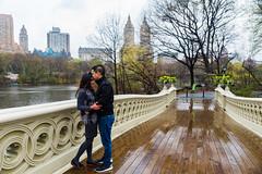 A Kiss on Bow Bridge in the Rain (Havoc315) Tags: park nyc rain engagement nikon couple centralpark central d750 bowbridge nikond750
