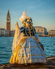Gold & Blue at Sunset (Kayla Stevenson) Tags: venice costume model piazza sangiorgiomaggiore graceboucherand