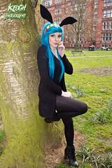 IMG_8939 (Neil Keogh Photography) Tags: blue red black anime bunny yellow female highheels cosplay manga tights wig cosplayer swimsuit bunnyears headband leotard fairytail levymcgarden nwcosplayeastermeet2016