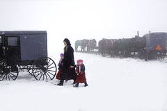Amish Mother and Daughters. (crabsandbeer (Kevin Moore)) Tags: street winter people horse snow storm weather rural spring pennsylvania farm auction candid amish pa flurries buggy buggies mennonite whitespace mudsale rawlinsville