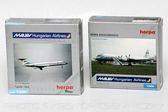 Herpa Miniaturmodelle Yesterday Series MALEV Tu-134 and IL-18 in 1:500 scale (KristofCs) Tags: old airplane model box collection series yesterday 1500 tupolev diecast hamoa tu134 il18 herpa malev malv halbp