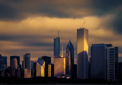 First Light in the Second City (Carl's Captures) Tags: urban skyline architecture clouds sunrise buildings skyscape landscape gold dawn golden march morninglight spring downtown glow cityscape shadows towers chitown atmosphere photowalk glowing theloop cookcounty firstlight chicagoillinois skyscapers aoncenter fehlfarben thewindycity cityofchicago tamron18270 nikond5100 lightroom5