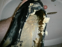 Mushy Peas and black slip-on plimsolls (eurimcoplimsoll) Tags: shoes pumps sneakers trainers canvas messy peas wrecked trashed elastic gunge plimsolls daps plimsoles