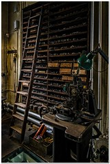 The workshop ladder (Hugh Stanton) Tags: light patterns machine jewelry tools quarter ladder lathe