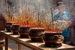 Incense at the Altar of Thiên Hâu Temple - Ho Chi Minh City, Vietnam (bvi4092) Tags: travel building photoshop temple nikon worship asia interior smoke altar vietnam pots inside nikkor saigon incense hochiminh d300s 18105mmf3556 nikon18105mmf3556 thiênhâu