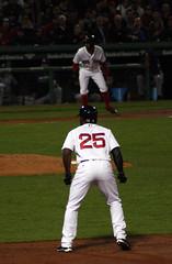 Bases loaded with Red Sox... (ConfessionalPoet) Tags: baseball ss redsox cf firstbase baserunner thirdbase centerfielder jbj jackiebradleyjr xanderbogaerts