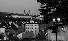 Prague (romanboed) Tags: street leica old city morning bw white black monochrome night sunrise town lowlight europe cityscape republic czech prague small hill prag praha praga m monastery quarter bluehour 50 bohemia summilux lesser mala asph petrin praag 240 strahov strana cesko