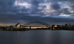 Sydney Harbor (i_divo) Tags: travel sunset reflection silhouette clouds canon landscape waterfront nightscape sydney australia nd nightsky sydneyharbour sydneyoperahouse sydneyharbourbridge 2015 mrsmacquarie newsouthwhales steelarchbridge 5dmkiii photosbymch