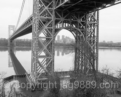 George Washington Bridge over the Hudson River, New Jersey-New York (jag9889) Tags: park christmas nyc newyorkcity bridge blackandwhite bw usa holiday ny newyork tower monochrome river puente newjersey crossing unitedstates outdoor manhattan unitedstatesofamerica nj bridges ponte pip infrastructure pont hudsonriver brücke gw suspensionbridge gwb fortlee waterway gardenstate georgewashingtonbridge palisades washingtonheights wahi 2015 palisadesinterstatepark bergencounty k007 zip07024 07024 newjerseysection jag9889 20151225