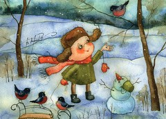 Victoria Kirdiy (caijsa's postcards) Tags: snow birds children postcrossing snowmen postcards victoriakirdiy