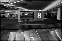 Baggage Claim, SFO, February 08, 2016 (Maggie Osterberg) Tags: sanfrancisco california bw blackwhite airport sfo gr ricoh silverefexpro2 183mmf28