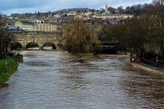 River Avon through Bath at very high level (Ian Redding) Tags: uk bridge river bath flood britain somerset highwater weir riveravon pulteney