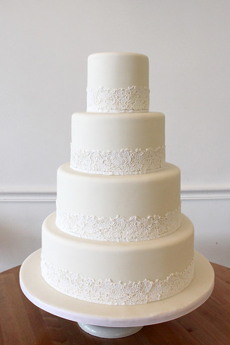 Classic White on White with Sugar Lace Wedding Cake