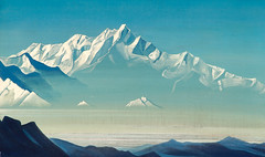 Nicholas Roerich — Mount of Five Treasures (Two Worlds), 1933. Painting: Tempera on canvas, 47 x 79 cm. Nicholas Roerich Museum, New York.  Part of Roerich's Holy Mountains series. Via Art of Darkness: Daily Art Blog (ArtAppreciated) Tags: desktop wallpaper sky mountain mountains art nature modern century painting landscape 1930s five air horizon fineart blogs clear mount holy nicholas crisp faves hi hd russian res scenes 20th treasures roerich artblogs tumblr artoftheday artofdarkness artappreciated artofdarknessco artofdarknessblog date1933