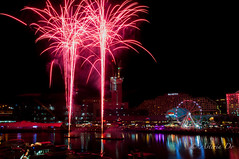 Fireworks for the month of Love (Asteria D.) Tags: longexposure love beauty photography bay fireworks harbour valentine celebration nighttime colourful weekly month darling collective cockle pyrotechnic