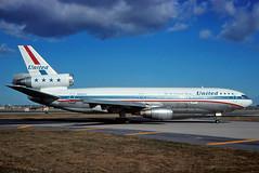 N1825U United DC-10-10 at KORD (GeorgeM757) Tags: airplane airport aircraft aviation united chicagoohare widebody mcdonnelldouglas kord dc1010 fedexexpress n390fe alltypesoftransport n1825u taxiig