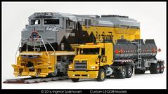Mack Vision with Tanker Trailer & EMD SD70 Ace Locomotive 1 (2LegoOrNot2Lego) Tags: suspension ace locomotive mack servo exhaust peterbilt 18wheeler kenworth bigrig freightliner emd westernstar fifthwheel sd70 6x4 mp8 solidaxle ustruck bricksonwheels cx613 cx612 slidercxn613