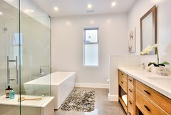 Contemporary Master Bathroom with Freestanding & Double sink in Eagle Rock, CA (inspiration_de) Tags: ca white architecture bathroom minimal