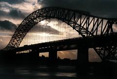 Runcorn Bridge (tom_t.photography) Tags: bridge england west film silhouette 35mm river island nikon north bank prom promenade spike em mersey runcorn widnes halton