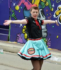 Muff-A-Lotta dancer dancing in the street - Krewe of Tucks parade (Monceau) Tags: street walking women colorful dancing neworleans parade mardigras beadwork streetnames kreweoftucks muffalatta damesdeperlage
