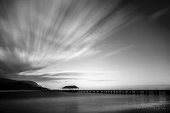 Dream Series: Hanalei Pier in Maui Hawaii in Black and White _85Z7054 (The Smoking Camera) Tags: ocean sky bw white seascape black monochrome clouds landscape hawaii pier nikon dream kauai 20mm hanalei neutraldensity d810