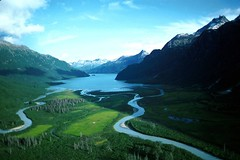 Aerial view of the river flowing into Crescent Lake (LakeClarkNPS) Tags: lake mountains alaska river aerialphotography crescentlake lakeclarknationalparkandpreserve chigmitmountains