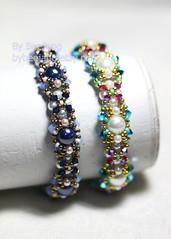 Georgiana (BeeJang - Piratchada) Tags: pink blue white crystal handmade jewelry bracelet pearl swarovski miyuki opal pewter beading beadwork beadweaving