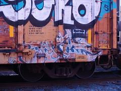? (TheRapLetterTechnician) Tags: railroad train graffiti streak tag traintracks rail trains rails wilderness graff freight bombing aerosolart freightyard moniker freightgraffiti graffitibombing