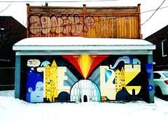 Beautiful Garage Door - Montreal (Coastal Elite) Tags: montréal streetart garagedoor urbain urban ndg notredamedegrâce notredamedegrace notre dame street montreal monkland portedegarage garage porte door painting peinture graffiti beautiful art rue couleurs colors colours color colour wall mur portes neige snow snowy enneigé murale murals mural murales walls paint orphelinat orphanage ruedelorphelinat igloo exclamationmark exclamation mark point pointdexclamation zoids montrealwalls igloos