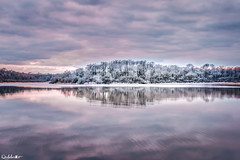 Pastel landscape (diabolomint) Tags: winter lake nature canon eau couleurs pastel lac nuages paysage soir