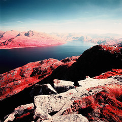 Loch Nevis (Mark Rowell) Tags: film ir scotland kodak hasselblad infrared expired swc 903 lochnevis aerochrome