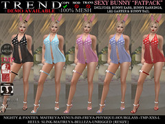TREND - SEXY BUNNY OUTFIT - FATPACK (Jazzy Serra) Tags: bunny panties easter venus secondlife heels playboy isis freya belleza easterbunny physique hourglass tmp nighty maitreya negligee slink sexybunny themeshproject meshbodies