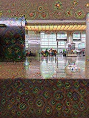 Dreaming of Exotic Locales (sjrankin) Tags: sanfrancisco california people northerncalifornia edited lobby processed hdr filtered ticketing sanfranciscoairport internationaldeparturelobby 11april2016