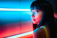 Neon Rendezvous (Jon Siegel) Tags: pink blue light woman girl beautiful fashion night 50mm evening nikon singapore neon gorgeous 14 sigma style tiles futuristic thatlook d810 sigma50mmf14art
