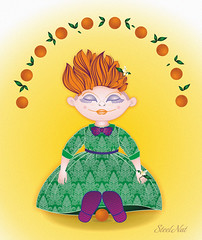 Orange mood (SteelNat) Tags: orange flower fern girl spring doll pattern russia moscow postcard ornament card bow            steelnat