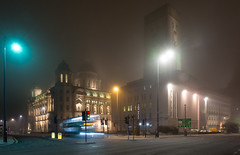 Night bus at Pier Head (Joe Dunckley) Tags: uk longexposure winter england mist bus fog night liverpool motionblur pierhead merseyside nightbus