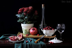 Luminosity (Esther Spektor - Thanks for 10+ millions views..) Tags: flowers light red stilllife food brown white plant black reflection green water glass fruit composition canon stand bottle ceramics napkin knife pomegranate plate bowl mums pot cranberry tabletop available lid bodegon naturemorte goblet naturamorta luminosity naturezamorta creativephotography stileben artisticphoto estherspektor