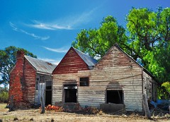 early settlers (HOLLY HOP) Tags: trees abandoned home architecture farmhouse outdoors wooden bush decay empty rustic australia bluesky victoria homestead derelict pioneer ruraldecay woodenbuilding rustyandcrusty goldsborough explored centralvictoria inexplore goldsboroughhomestead