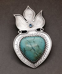 Turquoise Milagros brooch and pendant.