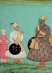 Deccan School  Portrait of Ikhlas Khan, late 16th century. Painting: Opaque watercolor. San Diego Museum of Art. From the 1580s onward, Ikhlas Khan was in charge of administration, commander-in-chief and minister of finances under Sultan Ibrahim Adil Sha (ArtAppreciated) Tags: india male green art history fashion museum century portraits watercolor painting asian clothing san flat indian traditional fineart diego blogs portraiture opaque classical sultan khan ibrahim 16th figurative muhammad shah adil deccan decca artblogs 1580s ikhlas tumblr 1590s artoftheday artofdarkness artappreciated artofdarknessco artofdarknessblog