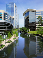 Woodlands Waterway (Explored) (Robert Holler Photography) Tags: reflection architecture clouds reflections woodlands texas cloudy waterway archtecture